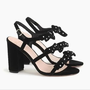 J.Crew Black Bow Stella in Velvet Sandals 11